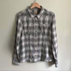 Gramicci // Embroidered Western Style Plaid Shirt